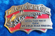 Baron Buckles Belt Buckle, 'I Will Give Up My Gun' (6269)
