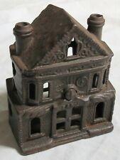 Original 1899 Patent Cast Iron Building Bank 2 Chimney Victorian Old Vtg Antique