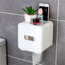 Waterproof Toilet Paper Holder Tissue Bathroom Wall Mounted Storage Hook Shelf