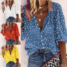 Women Polka Dot Shirts Blouse Ladies Buttons V Neck Top T-Shirts Plus Size 10-24