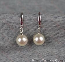 Beautiful Classic 925 Sterling Silver Plated Pearl Drop/Dangle Hook Earrings
