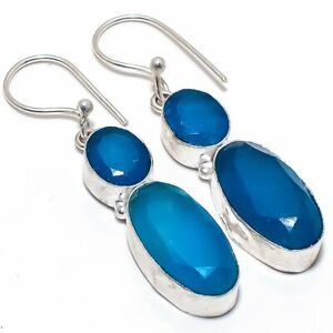 """Blue Sapphire Gemstone 925 Sterling Silver Jewelry Earring 2.0"""""""