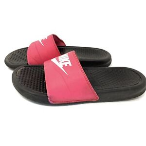 Nike Hydro Slides Sandals Youth Kids Girls Pink Black 555742-600 Size 7Y