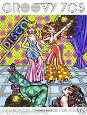 Groovey 70s Disco Adult Colouring Book Bell Bottoms Platform Shoes Fashion Women