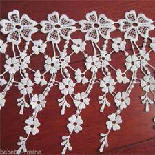 D004 - LARGE DENTELLE FLEUR FRANGE BLANC CRÈME * 19 cm * X 8 fleurs env. 48 cm