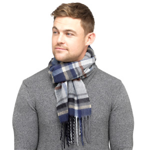Mens Soft Check Scarf with Tassel Ends Blue