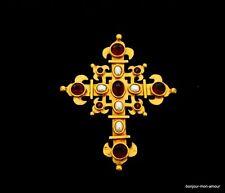 Haute Couture Stil & Qualität Kristall & Glasperlen Kreuz Brosche sowie Anhänger