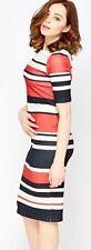 Ladies Smart Formal Textured Mono Stripe Shift Bodycon Dress Red Blue Size 8