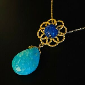 10k Yellow Gold Lapis Lazuli Turquoise Necklace Hand Faceted Teardrop