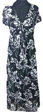 Style Ladies Floral Chiffon summer Dress Size  Medium Black White H4