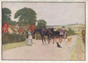 Cecil Aldin Antique Art Print-Color-Black Beauty-Horses-1930-A New Home