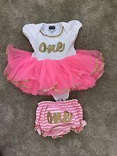 Mud Pie Baby Girl First Birthday Crawler Outfit 9-12 Months Birthday