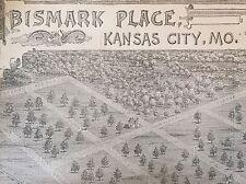 1887 newspaper POSTER MAP Early KANSAS CITY Missouri BISMARK PLACE Hammerslough