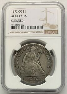 1872 CC Silver Dollar, Liberty Seated Dollar, $1 NGC XF Details Cleaned