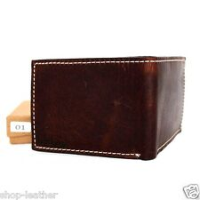 Genuine leather men's vintage wallet Bifold Card Holder slim small thin compact