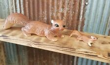 Vintage Family of 2 Lugenes Japan Ceramic Wall Climber Squirrel Figurines - Abox