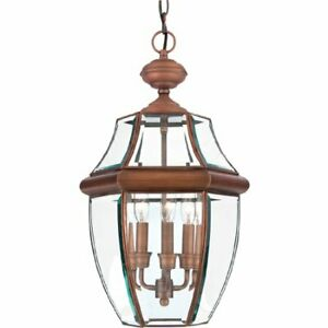 Quoizel NY1179AC 3-Light Newbury Outdoor Lantern in Aged Copper