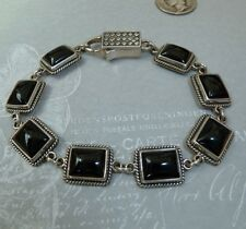 Vintage Sterling Link Bracelet With Beautiful Black Onyx Stone, Konder #354