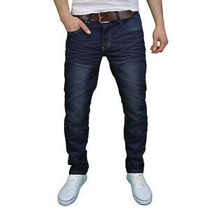 Crosshatch Mens Darkwash Indigo Regular Fit Straight Leg Jean