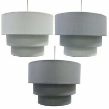 Modern Grey Fabric Ceiling Pendant Lampshade Easy Fit 3 Tier Light Shades