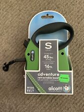 Alcott 16ft Reflector Retractable Dog Leash Heavy Duty Up To 45 lbs SMALL Green