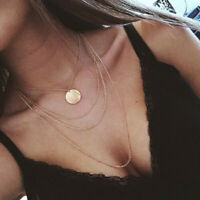 Multilayer Women Gold Alloy Clavicle Round Choker Necklace Chain Fashion Jewelry
