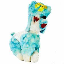 Vintage POODLE Plush Dog Stuffed Animal Blue White Silver-Eyes Yellow Ribbon