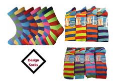 Mens Vibrant Colour Socks Fashion Stripe Design Pattern Office Everyday Wear LoT