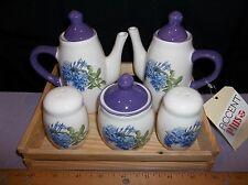Miniature Dolomite Tea Set in Fir Wood Box for Shelf or Table Top Five PIeces