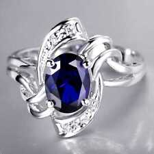 QCNL130 Handmade 2.45CT Natural Sapphire 14K White Gold Ring Size US 7