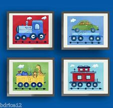 TRAIN NURSERY BEDDING WALL ART DECOR FOR BOY KID CHILDREN  TRAIN BEDROOM