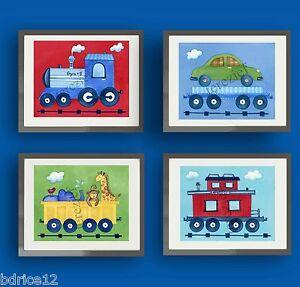 Kid's Train Wall Art Prints for Boy, Girl, or Baby Bedroom, Playroom, or Nursery