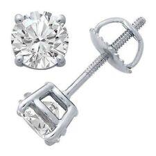 1.00 Carat Natural Round Diamond Screw Back Stud Earrings
