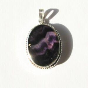 Vintage solid silver Derbyshire blue john pendant
