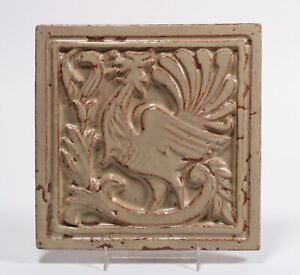 Rare Albert Solon Carved Tile - S&S San Jose California - Arts & Crafts 1920's