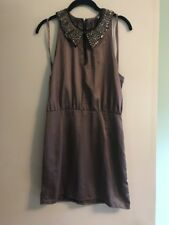 H&M BROWN BEADED DRESS VINTAGE INSPIRED SIZE 8