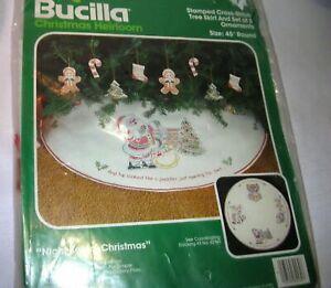 Sealed Bucilla Night Before Christmas Stamped Cross Stitch Tree Skirt Kit 82169