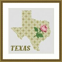 Texas state map cross stitch rose flower ornament embroidery simple PDF pattern