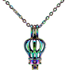 Rainbow Color Travel Hot Air Balloon Beads Cage Locket - Necklace C536