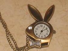 New Playboy Bunny Bronze Tone Necklace Pendant Pocket Watch