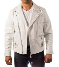 Mens White Brando Padded Quilted shoulder/ Sleeves Double Belt Biker Jacket