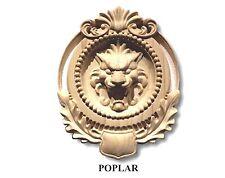 Hand Carved Lion Head Appliqué Rosette