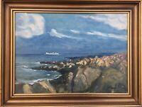 Dampfer Schiff vor felsiger Küste Ostsee Bornholm? Ölgemälde 46 x 60 cm signiert