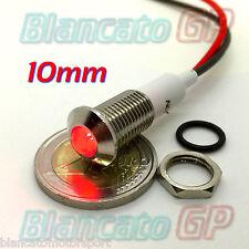 """SPIA LED ROSSO 12V DC METALLO """"TONDO"""" 10mm auto moto camper segnalatore lampada"""