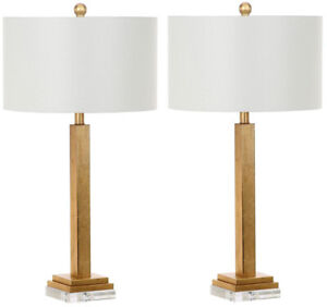 Gold Crystal Base Table Lamp 30 in. Durable Metal Construction Modern Set of 2