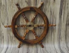 Wheel Pirate Decor Wood Brass Fishing Wall Boat Nautical Wooden Ship Steering