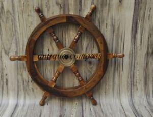 Wheel Pirate Decor Wood Brass Fishing Wall Boat Nautical Wooden Ship Steering