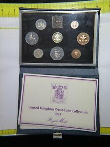 UNITED KINGDOM 1983 PROOF SET £1 PENCE PENNY DEEP CAMEO COINS HAZY TONING 🌈⭐🌈