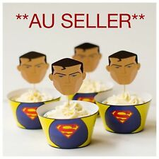 12x  Superman Cupcake Topper + Wrapper.. Party Supplies Lolly Loot Bag Deco Food
