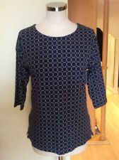 Bianca Top Size 12 Navy With White Circles 3/4 Sleeves Now
